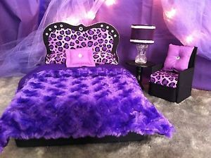 Barbie Monster High Bratz Furniture Purple Princess Fashion Doll Bed Chair