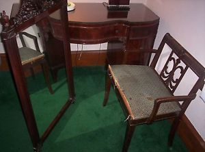 Antique Dresser Vanity with Chair and Mirror Williamsport Furniture Company PA