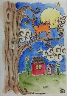 Tabby Cat Moon Owl House Folk Art Pet Watercolor ACEO Original Painting