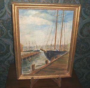 Vntg Estate Original Oil Painting Sailboat Dock Nautical Seascape by Jacobson