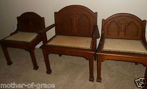 Set of 3 Catholic Church Altar Wood Carved Sanctuary Clergy Chairs Furniture