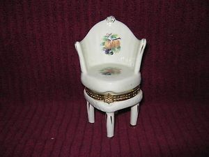 Ceramic Chair Ring Keeper Trinket Box w Hinged Seat Lid Classic Fruit Design