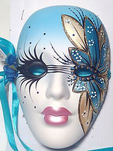 New Porcelain Mardi Gras Mask Theatrical Wall Decoration Drama 7 inches R584
