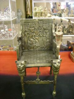 Amazing Unique Old Solid Brass King Tut Chair Made in Egypt Museum Collection
