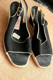 Vtg Hush Puppies Womens Black Canvas Sandals Slingback Wedge Heel 8 5 40 B220