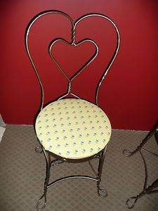 Set of 2 Antique Ice Cream Parlor Chairs Heart Shape Metal Frame Padded Seats