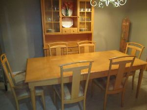 Ethan Allen Dining Room 2 Extensions 6 Chairs China Cabinet Serving Table