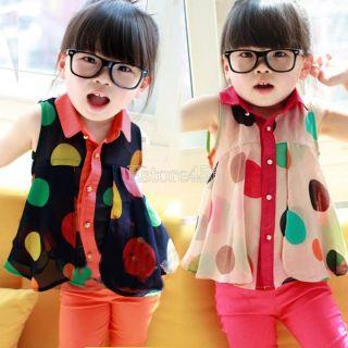 Princess Baby Girls Chiffon Blouse Sleeveless Tops Lapel Big Dot Pattern E456