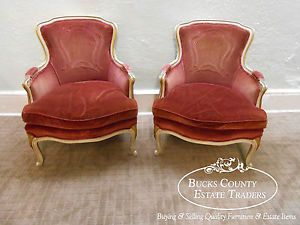 Vintage French Louis XV Style Painted Bergere Living Room Chairs