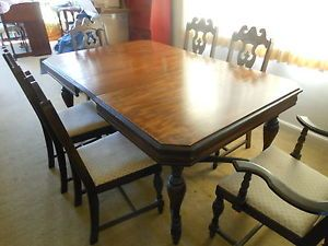 Vintage Chittenden Eastman Co Wood Dining Room Table Chairs Square Brand