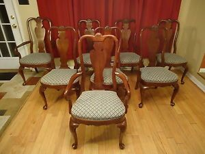 Ethan Allen Georgian Court Queen Anne French Cherry 8 Arm Side Dining Chairs Ind