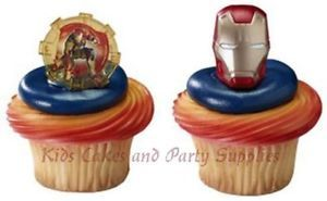Iron Man Helmet Cupcake Rings Cake Toppers Party Favors Decorations Supplies 24