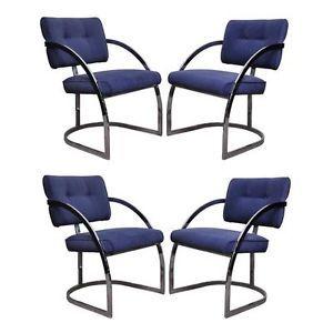 4 Vtg Mid Century Modern Cal Style Mfg Chrome Dining Chairs Milo Baughman Era