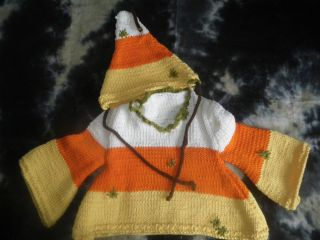 "Baby Hand Knit 100 Cotton Sweater Hat ""Last Year's Candy Corn"" 12 18 Months"