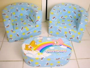 RARE Care Bears Chairs Ottoman 3 Piece Plush Foam Furniture Set 2004 Spin Master