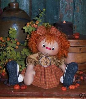 Primitive Raggedy Annie Ann Rag Doll Ornie Pattern 505