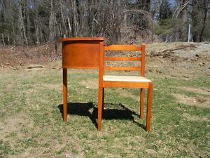 Vintage Antique Telephone Stand Chair Desk Table Gossip Bench Mid Century Modern