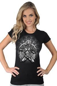 Women's Tattooed Gangster Marilyn with Wings Guns Pin Up Girl Classic T Shirt