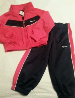 Girls 12 Month Pink Navy Nike Track Wind Suit 2 Piece