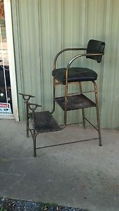 Paidar Shoe Shine Stand Chair 1930's Art Deco Original Leather Unrestored Nice