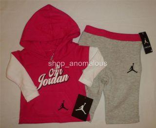 Nike Air Jordan Baby Girls Hoodie Shirt Pants Outfit Set Clothes Sz 3 6M
