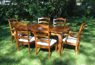 Solid Wood Maple Dining Room Table Chairs County French