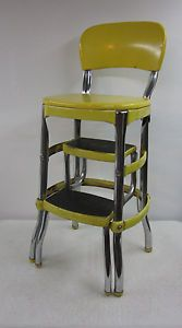 Vintage Cosco Step Stool Ladder Chair Green Vinyl Seat Chrome Back Mid Century