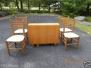Maple Drop Leaf Table with 4 Matching Chairs