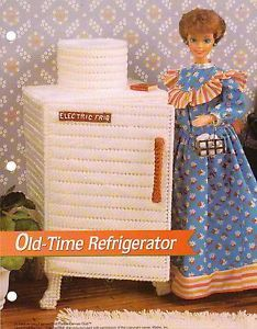Old Time Refridgerator Furniture Plastic Canvas Pattern for Barbie Fashion Doll
