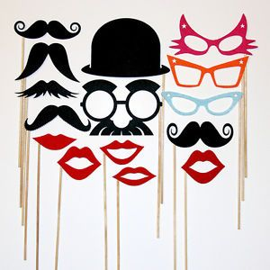 Wedding Photo Booth Props Mustache Lips Hat on A Stick Photobooth Party Favors