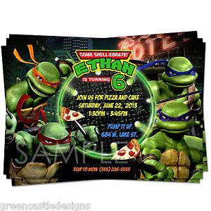Teenage Mutant Ninja Turtles Invitation Birthday Party Custom Invites Supplies