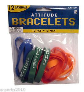 12 Baseball Attitude Rubber Bracelets Wristbands Party Supplies Favors