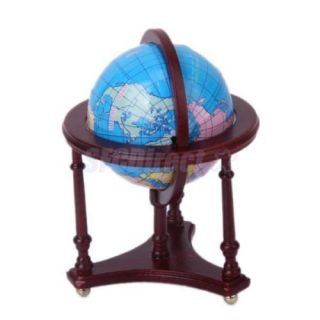 Globe Miniature for Dollhouse w Red Wood Stand Living Room Study Office Decor