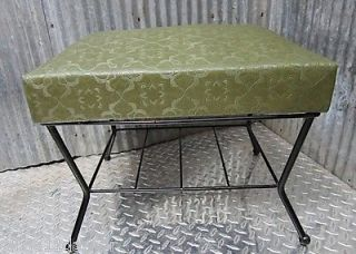 Mid Century Modern Green Foot Stool Ottoman Leg Lounger 50s Magazine Rack Metal