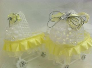 Lot of 12 Baby Carriage Favors Baby Shower Yellow Bassinet Party Supplies