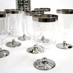 "5 5oz 4 75"" 60 120 180 240 Silver Rimmed Plastic Wine Champagne Flutes Glass"