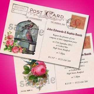 Personalised Engagement Party Invitations Vintage Shabby Chic Postcard E34