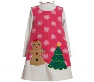 Bonnie Jean Girls Gingerbread Christmas Tree Fleece Jumper Dress Set 12M New