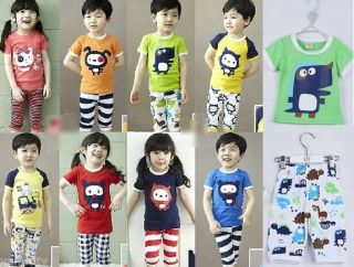 Baby Toddler Kids Boy Girl Cute Animal Print Candy Color T Shirt Tops Pants Suit