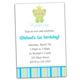 30 Cute Custom Frog Birthday Party Invitation Boys First 1st Baby Shower Prince