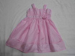 Infant Toddler Girls Pink White Striped Spring Summer Easter Dress Size 18 Month