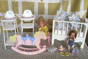 Vintage Mattel Barbie Heart Family Dolls Musical Nursery Crib Chair Horse Lot