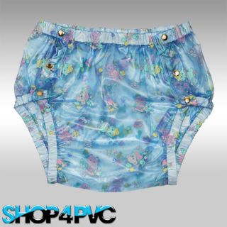 Cute Blue Adult Baby PVC Pants Snap on Over Nappy Diaper Plastic Vinyl Pant M