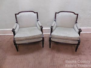 Baker Pair of French Louis XVI Style Bergere Living Room Chairs