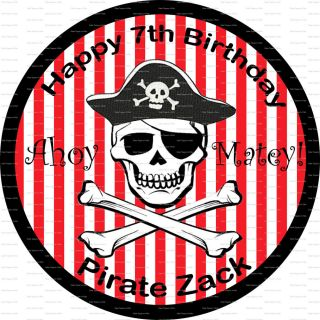 Pirate Skull Crossbones Rice Paper or Icing Birthday Cake Topper