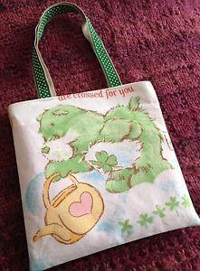 Vintage Good Luck Care Bear Fabric Small Tote Bag Handmade