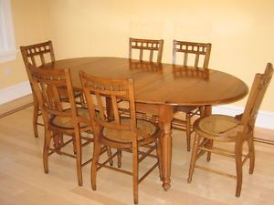 1898 Antique Oval Maple Drop Leaf Table and 6 Chairs