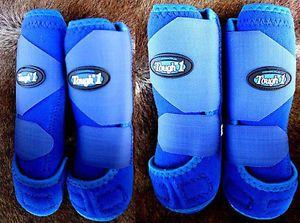 Tough 1 Extreme Vented Sports Medicine Splint Boots Horse Blue Front Rear M