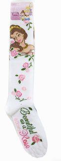 Disney Knee High Princess Belle Kids Girls White Socks Size 6 8 New