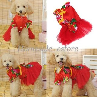 Pet Dog Chinese Tang Tutu Princess Dress Skirt Clothes Costume Party Apparel New